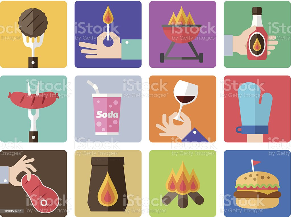 Multicolored grid with colored barbecue icons vector art illustration