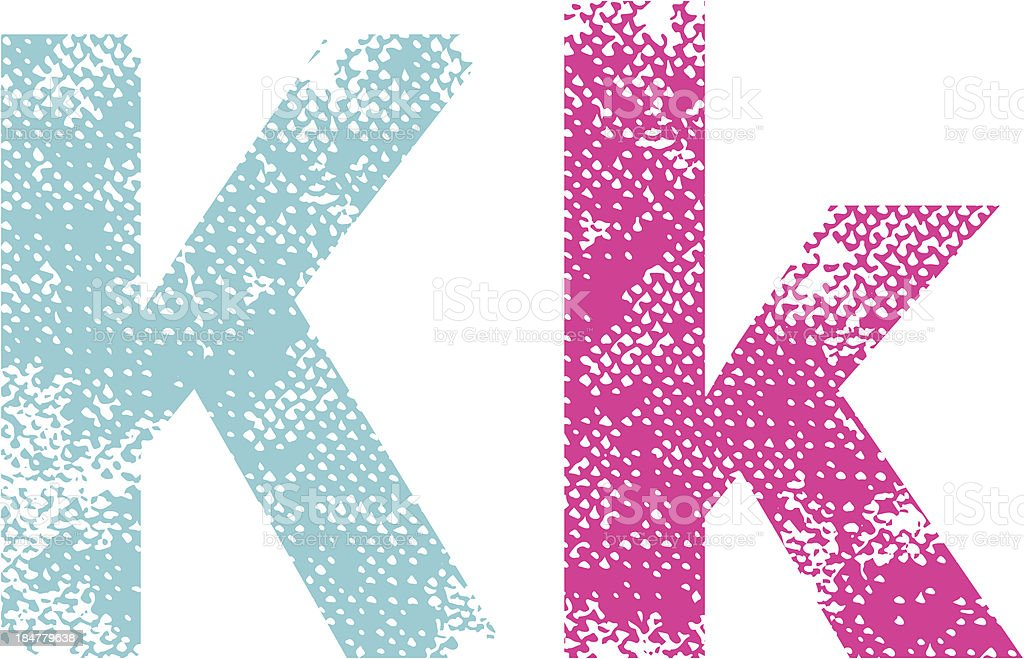 Multicolored grunge letters K. royalty-free stock vector art