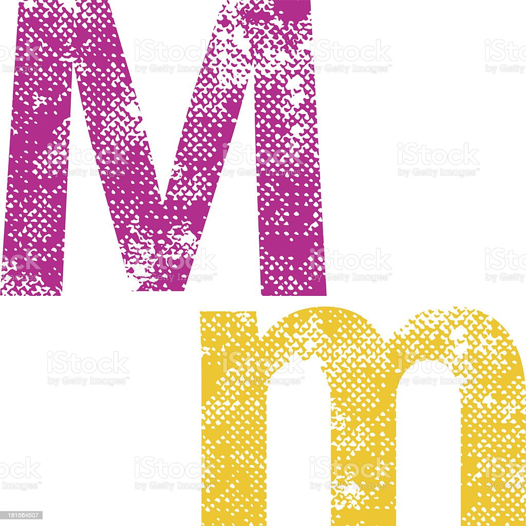 Multicolored grunge letters M. royalty-free stock vector art