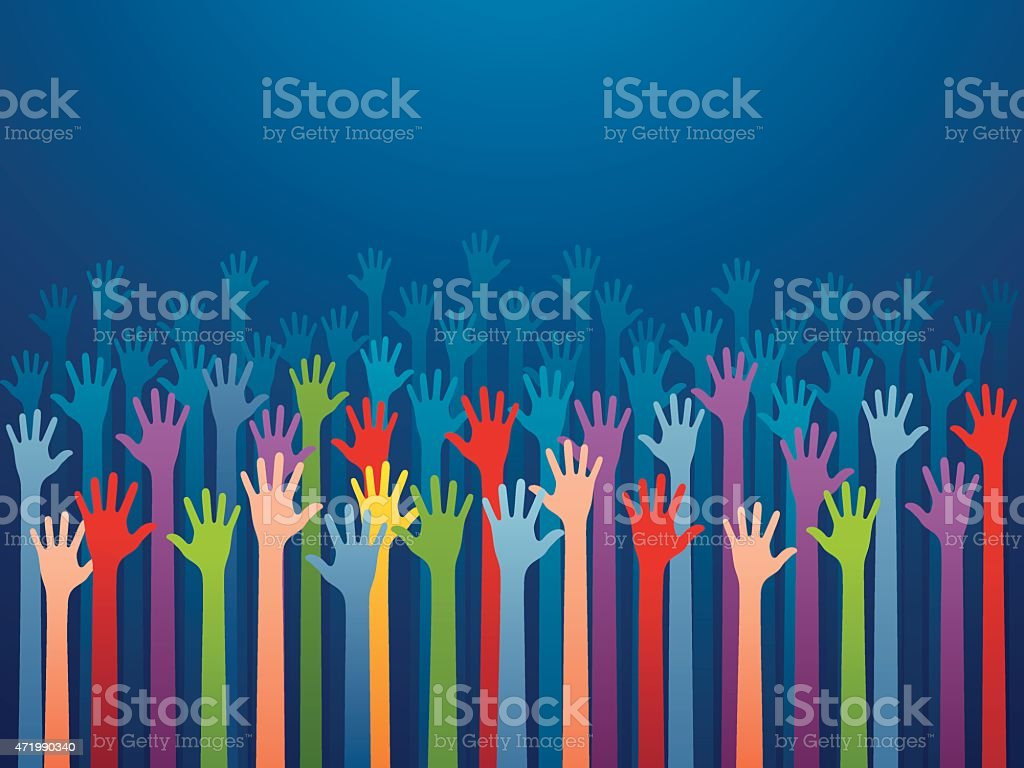 Multicolored hands reaching up on blue background vector art illustration