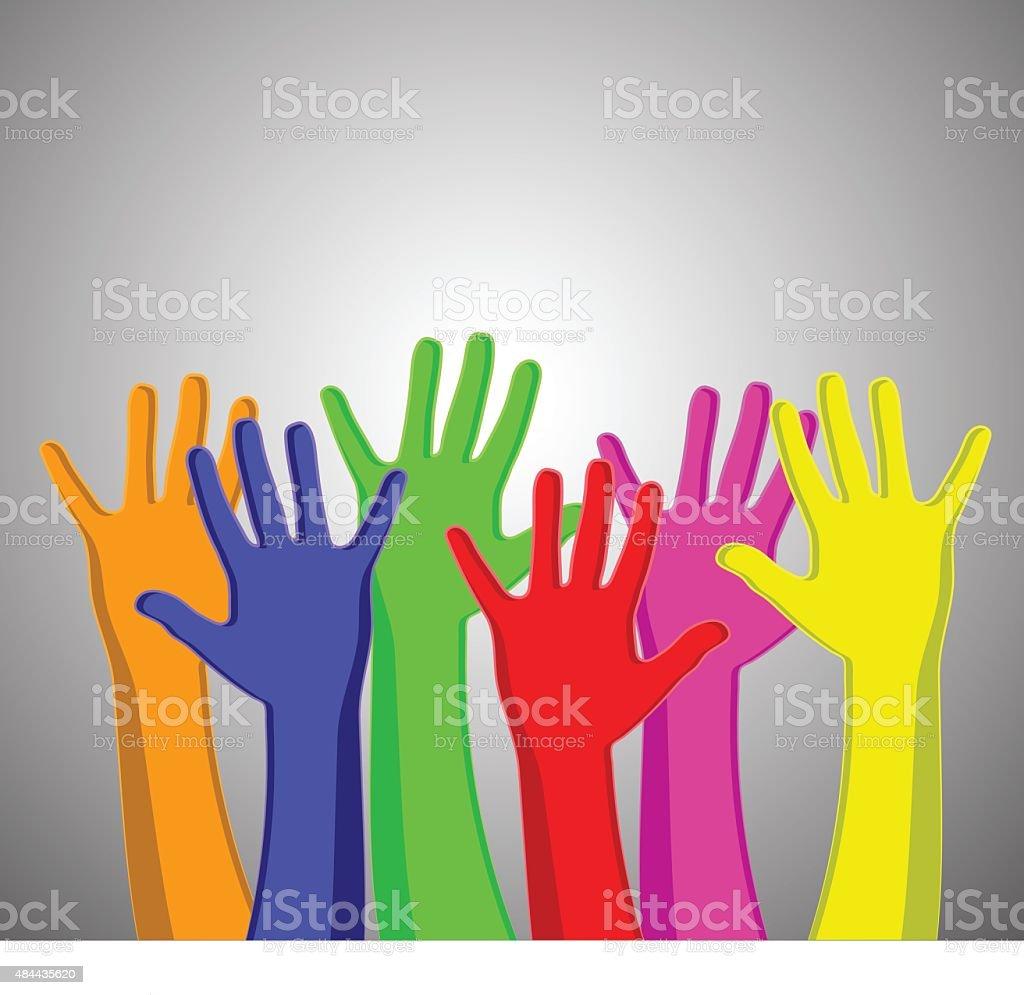 Multicolored hands vector art illustration