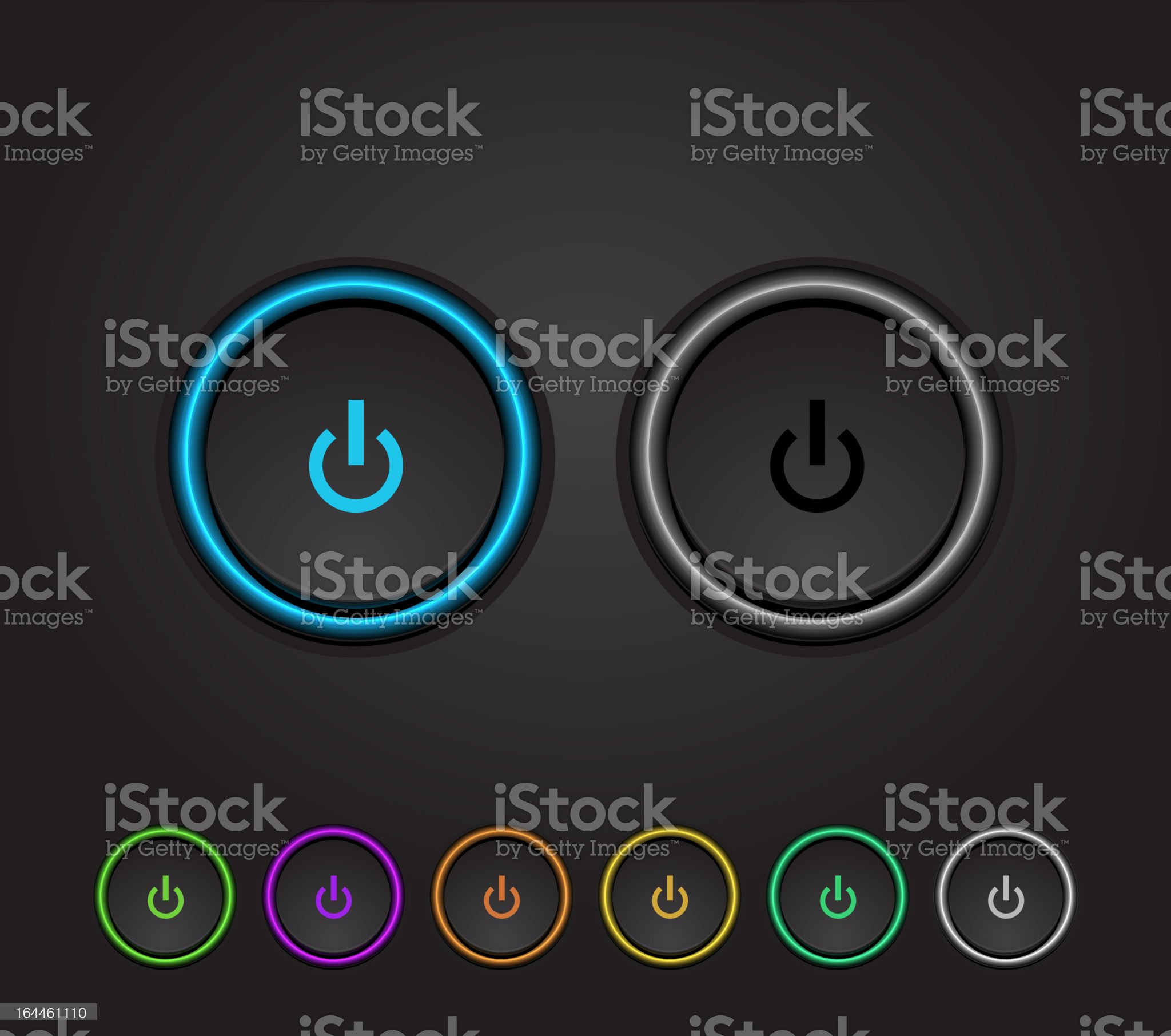 Multicolored illuminated power buttons royalty-free stock vector art