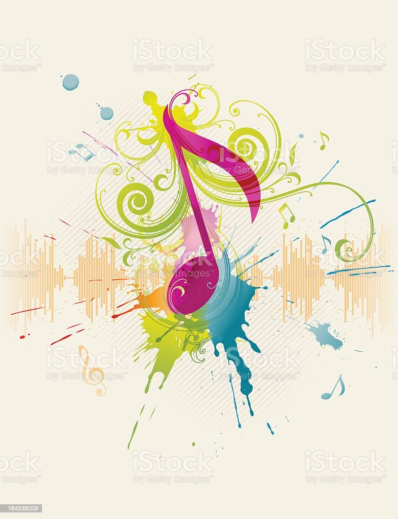 Multicolored illustration of music note vector art illustration