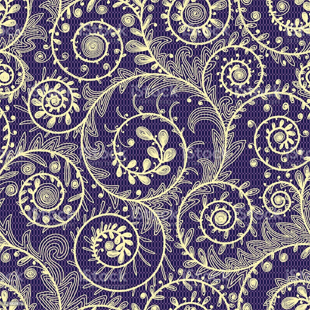 Multicolored Lace Seamless Pattern. vector art illustration