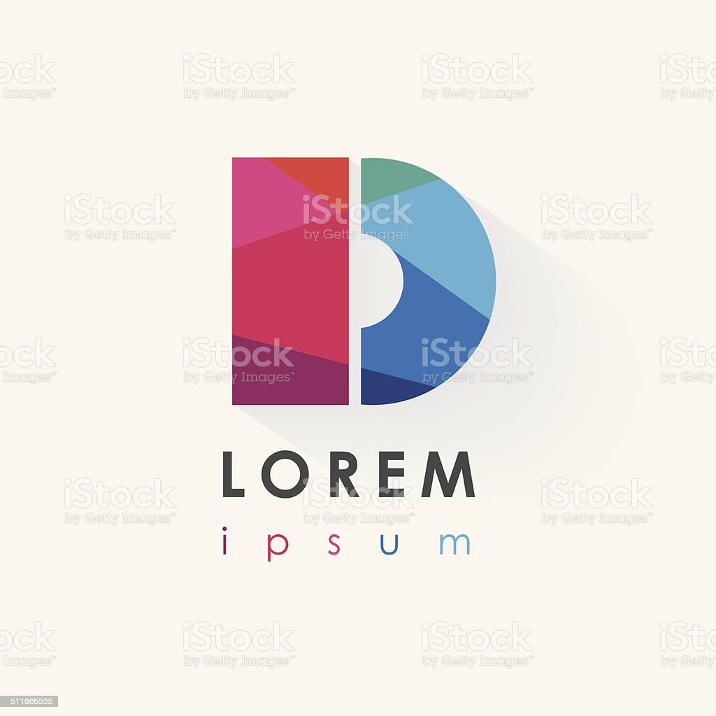 multicolored letter d logo design element in low poly style vector art illustration