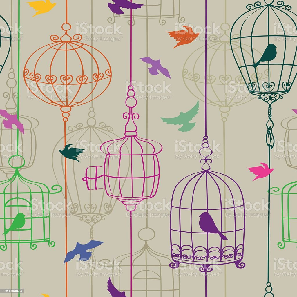 Multicolored line graphics of birds in cages vector art illustration