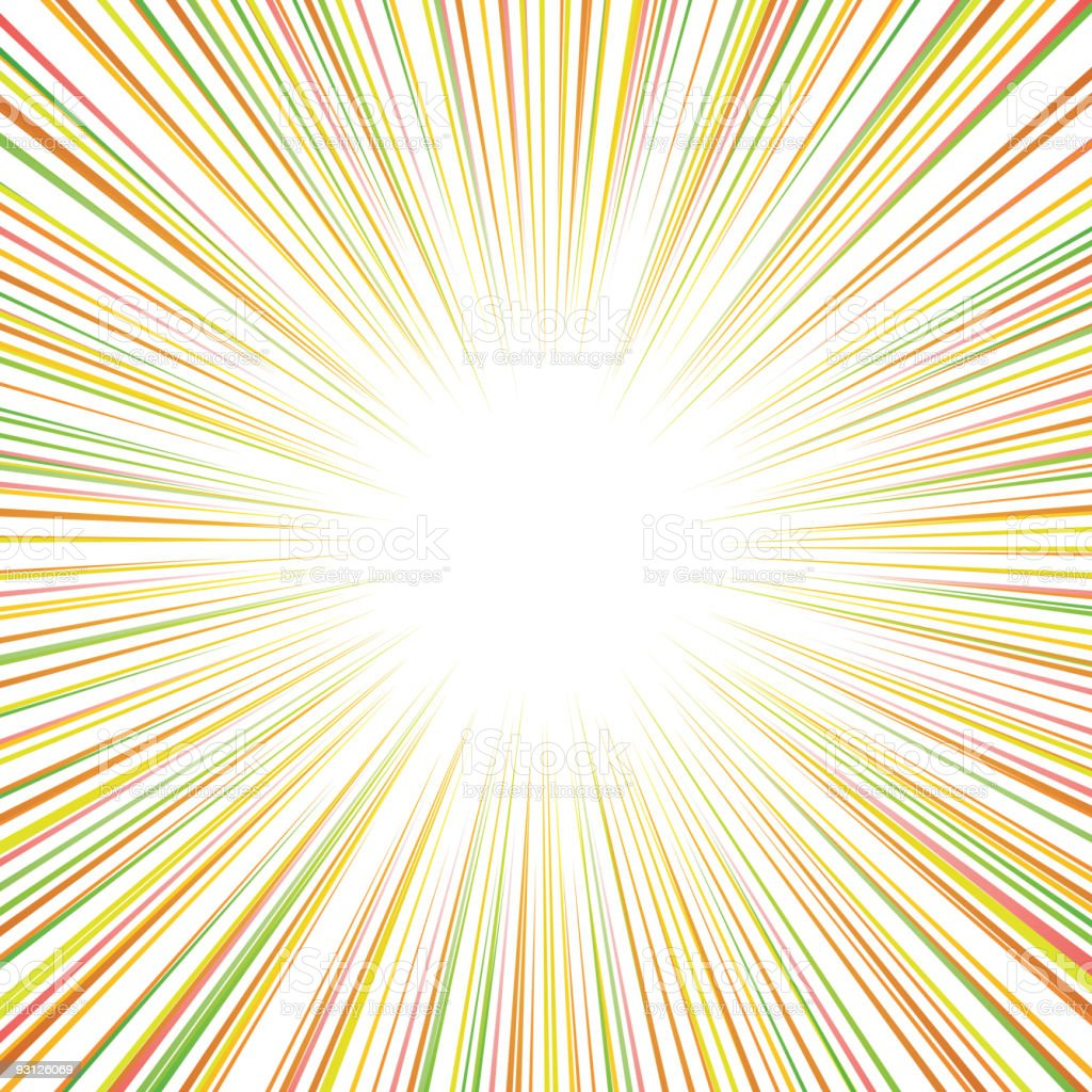 Multicolored lines meeting in the middle to form a sun royalty-free stock vector art