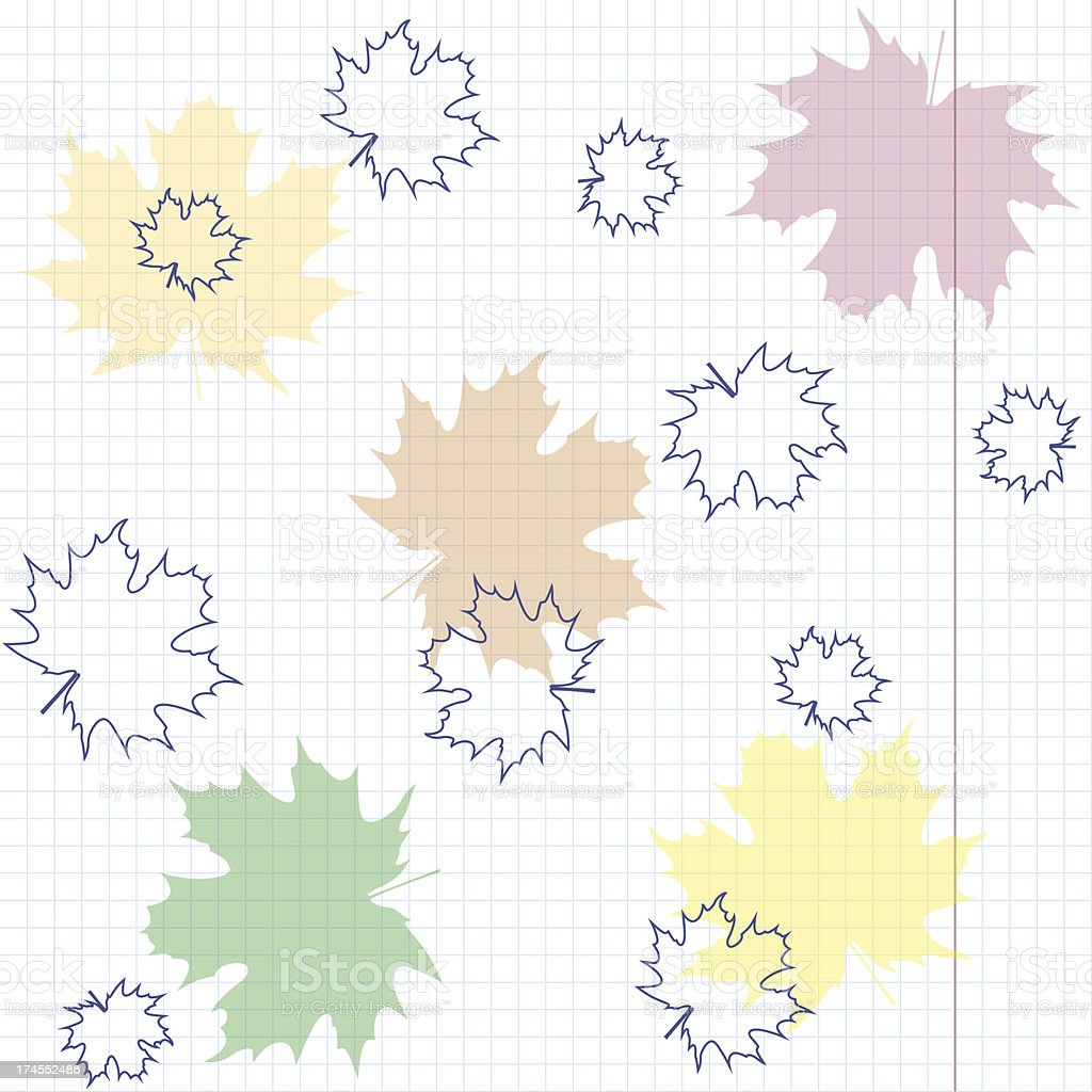 Multicolored maple leaves on a sheet of exercise book. royalty-free stock vector art
