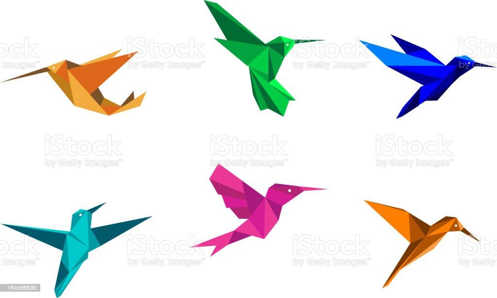 Multi-colored origami hummingbirds vector art illustration