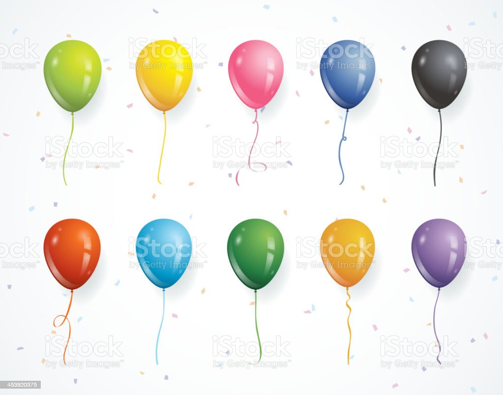 Multicolored party balloons with confetti royalty-free stock vector art