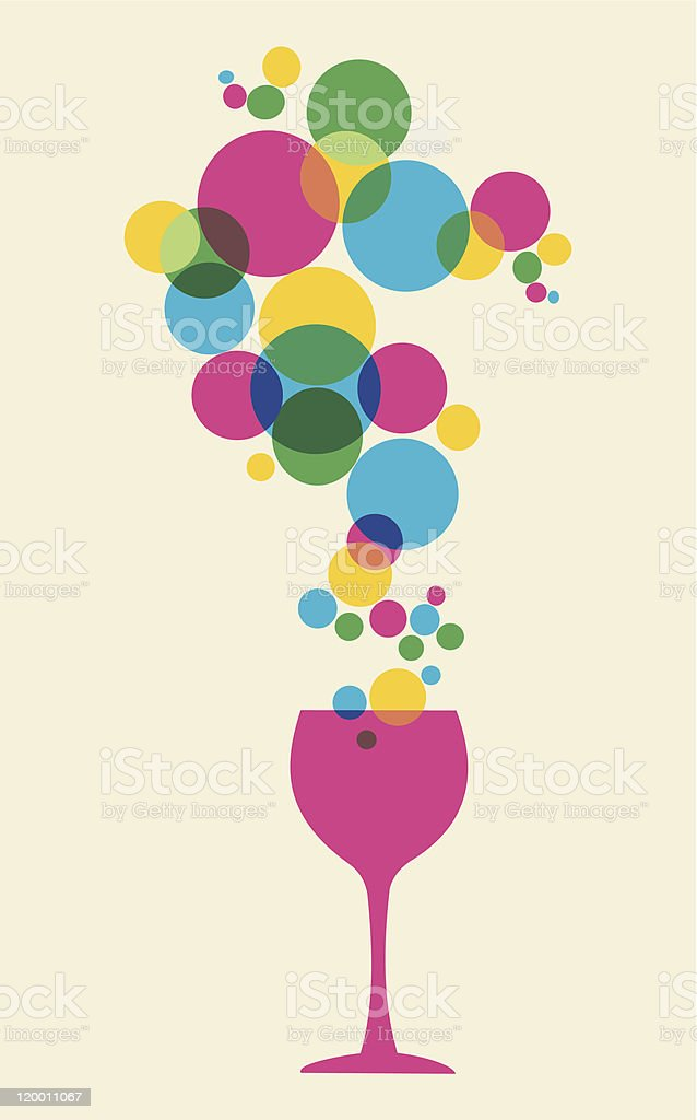 Multicolored party wine glass and bubbles pattern royalty-free stock vector art