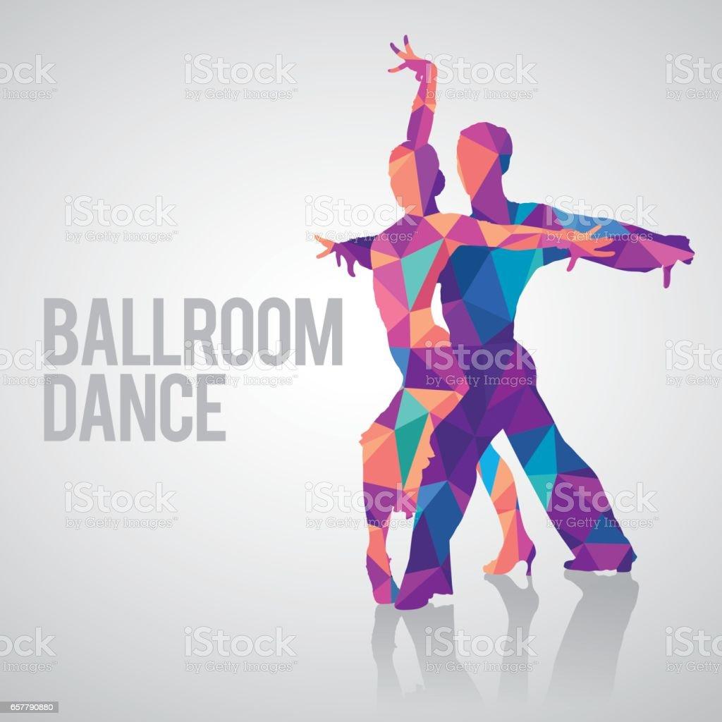 Multicolored polygonal vector silhouette of ballroom dancers. vector art illustration