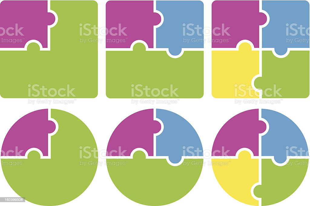 Multicolored puzzle pieces forming squares and circles vector art illustration