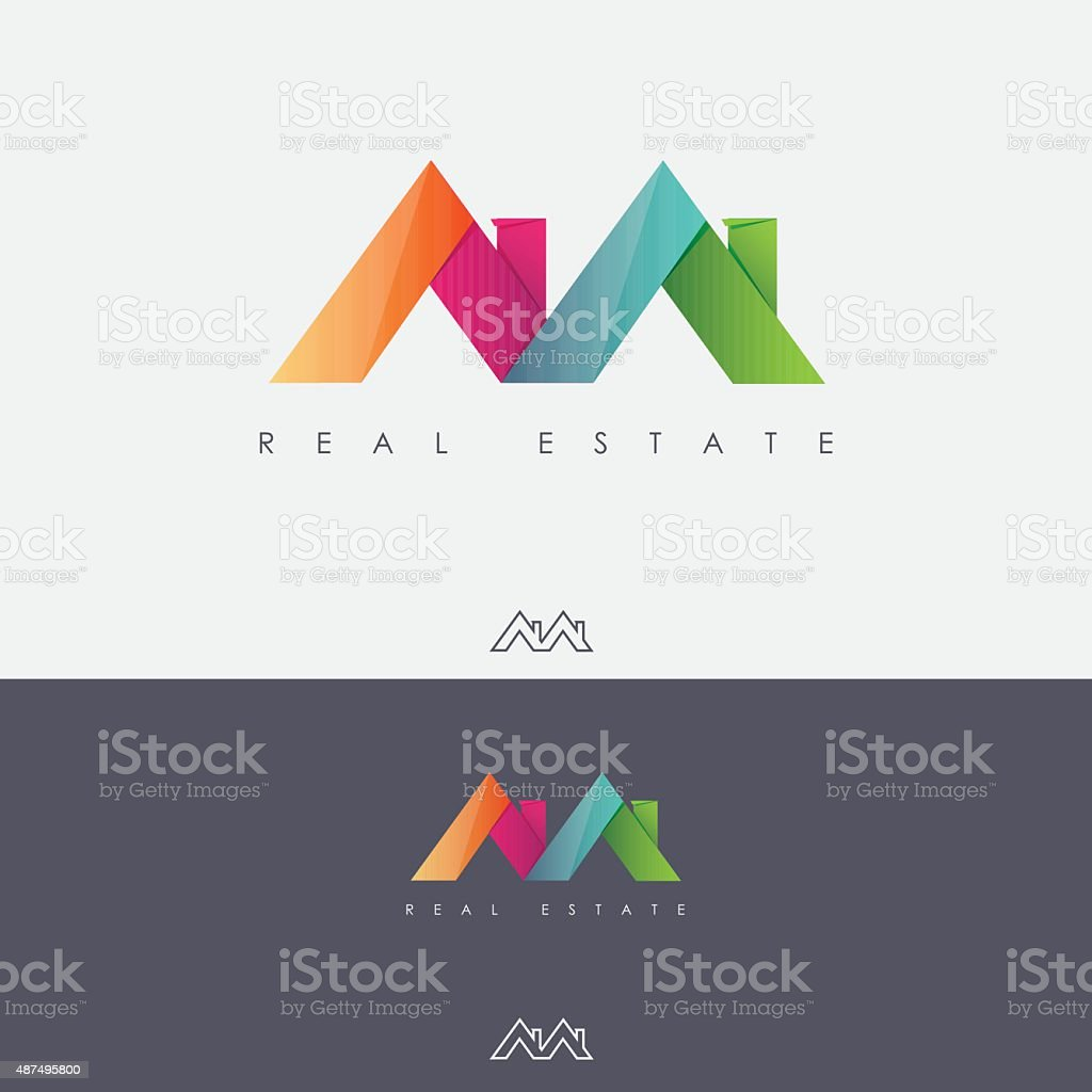 Multicolored real estate mark design with roof tops vector art illustration