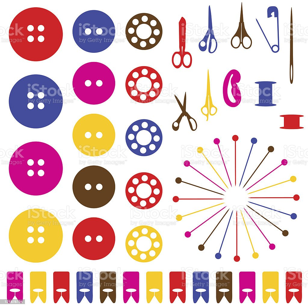 Multicolored sewing objects silhouettes set. royalty-free stock vector art