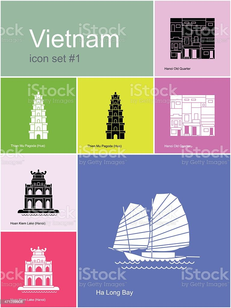 A multicolored sheet of different Vietnam icons vector art illustration