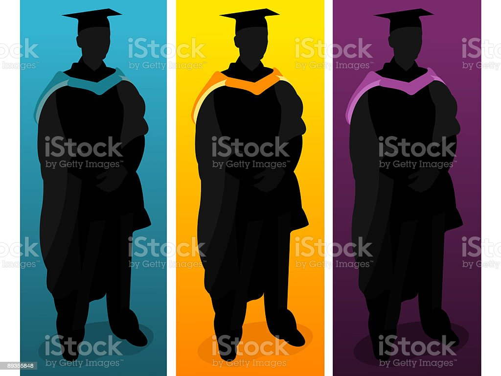 A multicolored Silhouette of three graduates vector art illustration