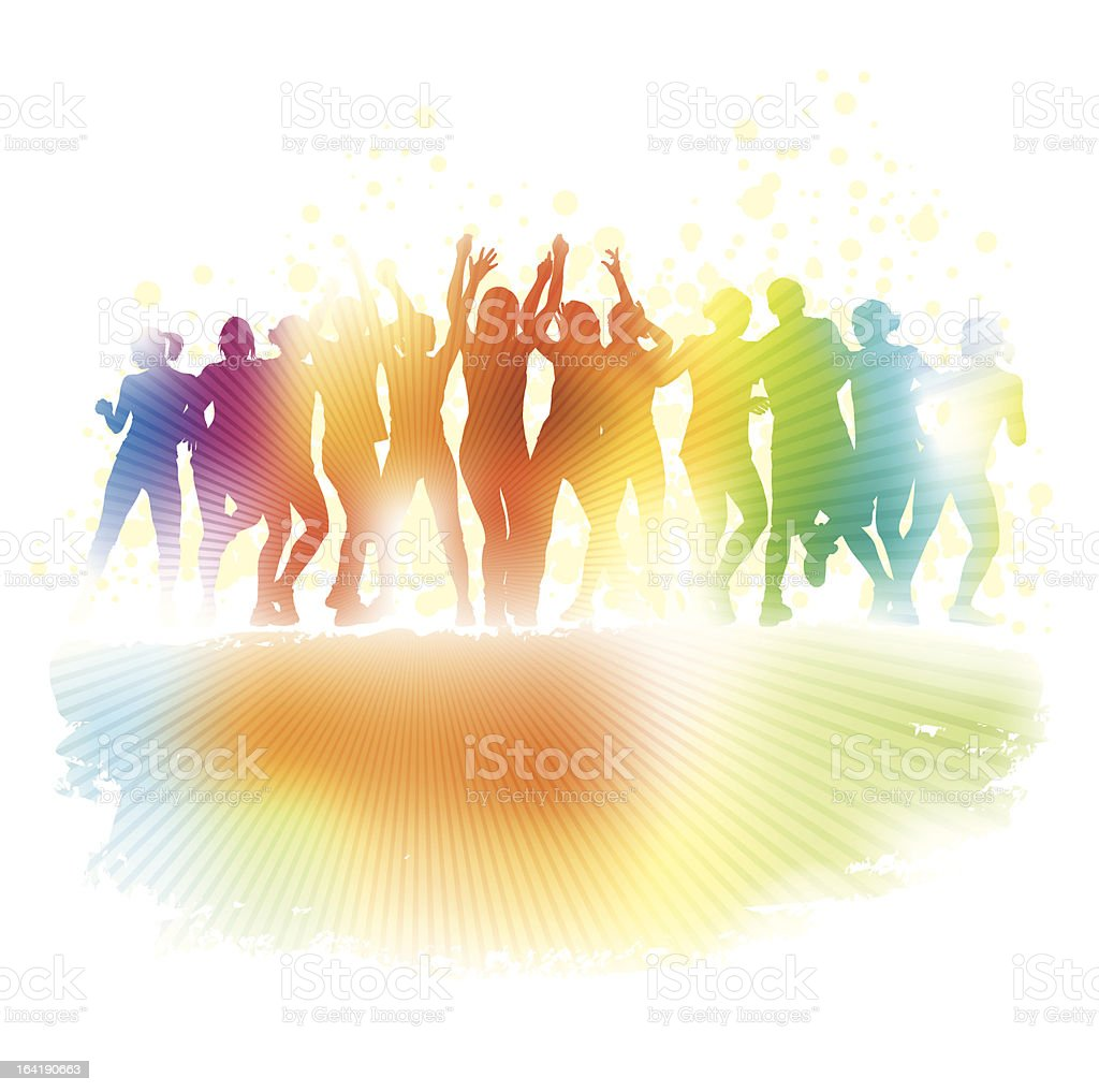 Multicolored silhouettes of a dancing crowd royalty-free stock vector art
