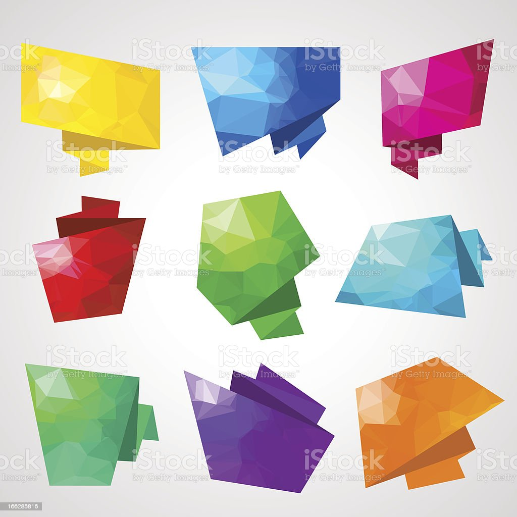 Multicolored speech bubbles with abstract triangular background. royalty-free stock vector art
