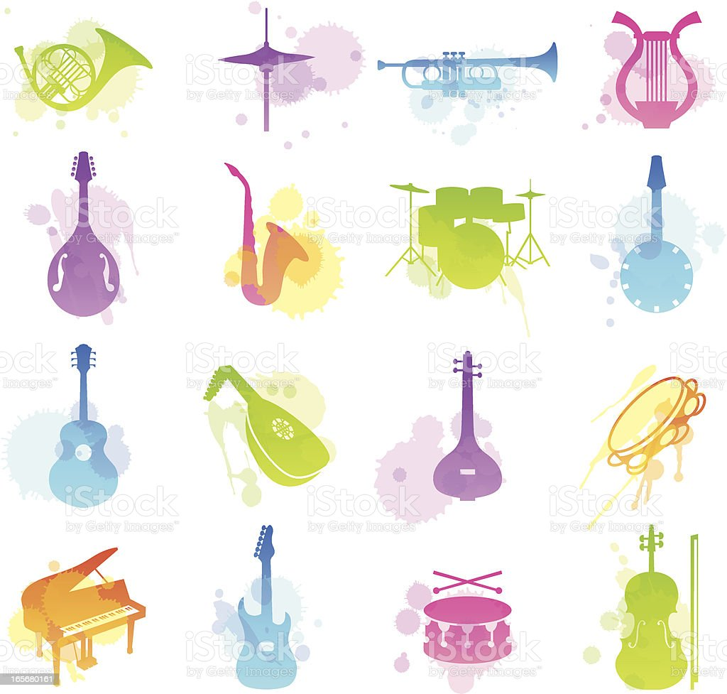 Multicolored stains icons of various musical instruments vector art illustration