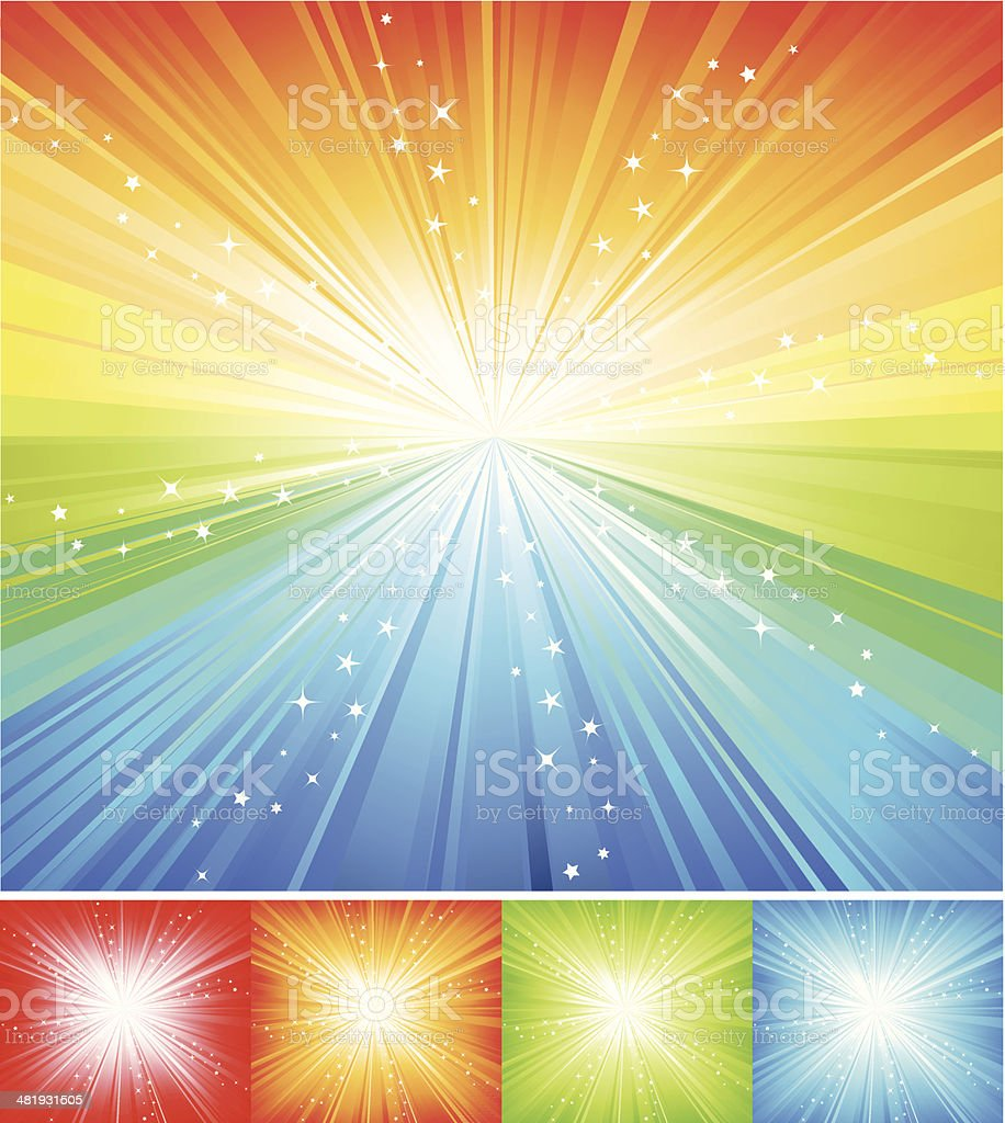 Multicolored Star burst royalty-free stock vector art