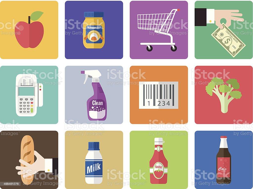 A multicolored supermarket icon set vector art illustration