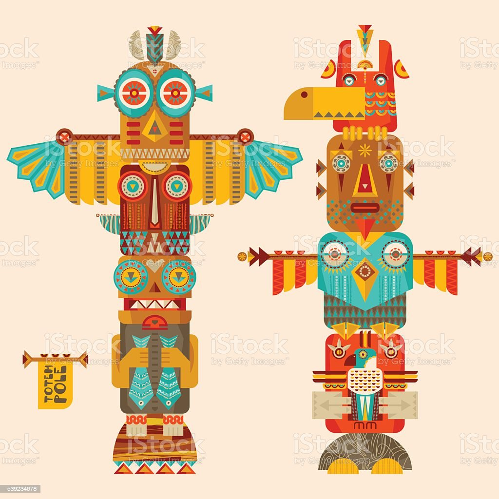 Multi-colored totem poles. vector art illustration