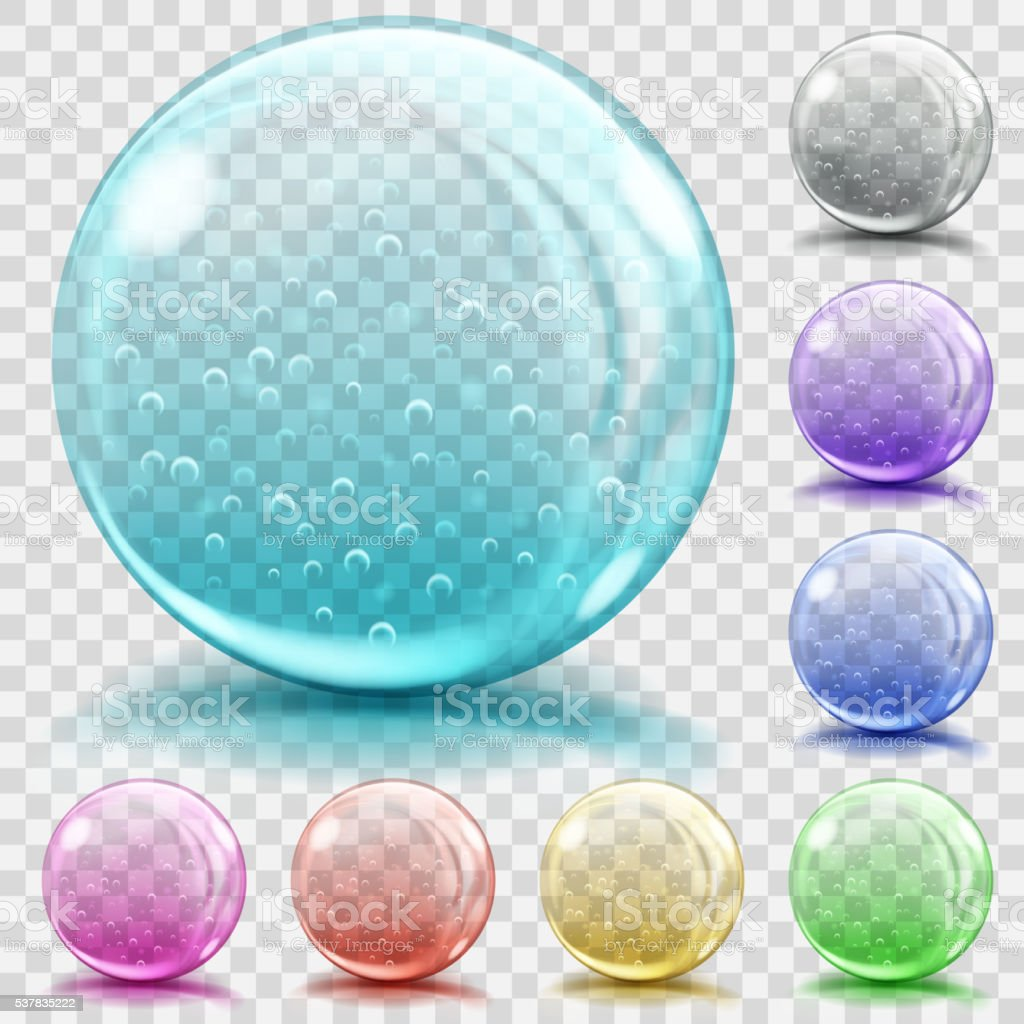 Multicolored transparent glass spheres with air bubbles vector art illustration