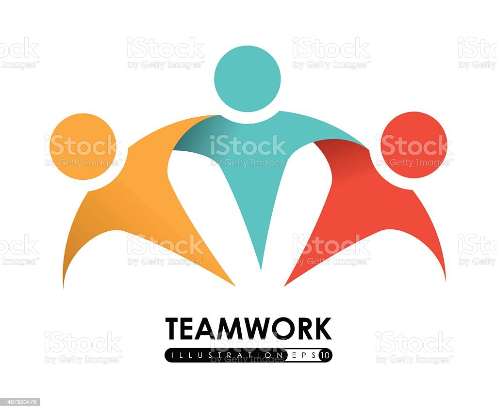 Multicolored vector illustration of teamwork vector art illustration