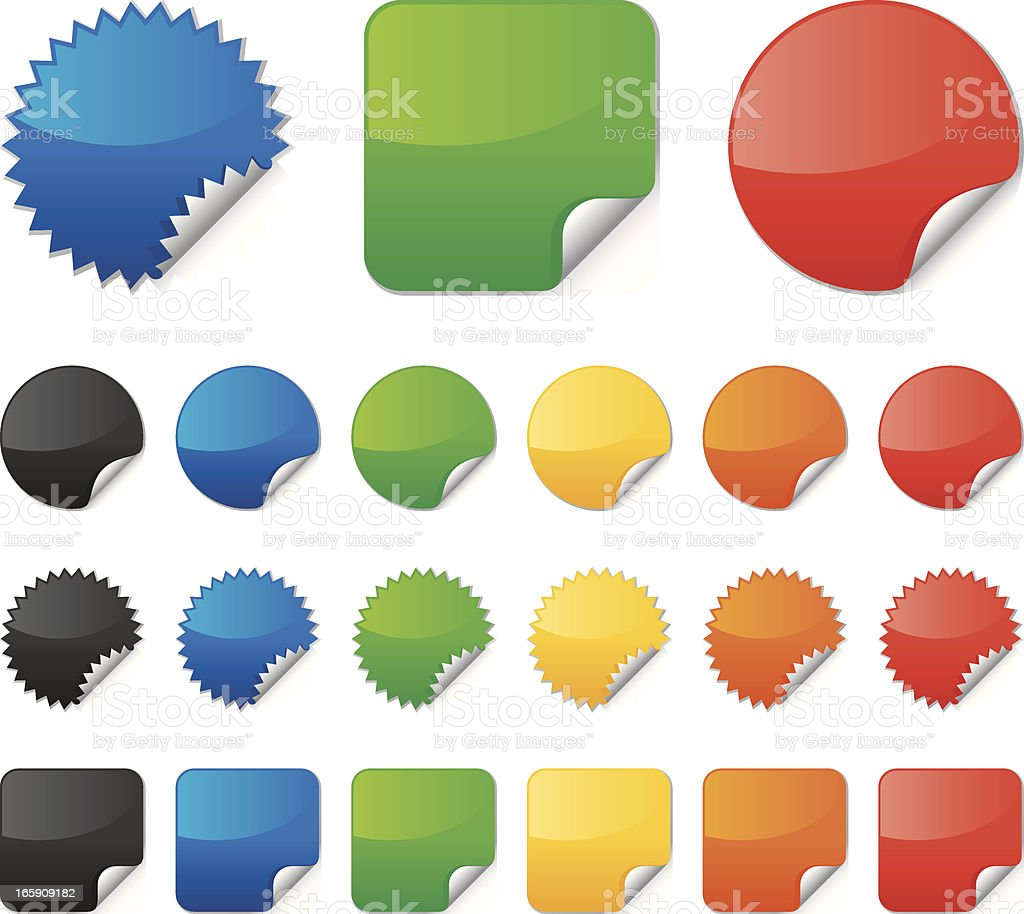 Multi-colored vector stickers collection vector art illustration