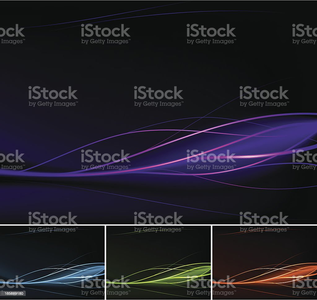 Multicolored waves in black background royalty-free stock vector art