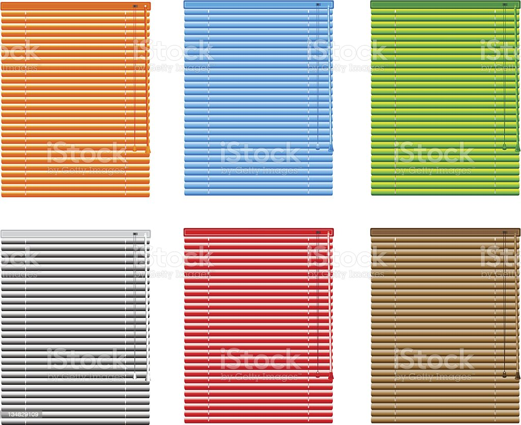 Multicolored window blinds on white background vector art illustration
