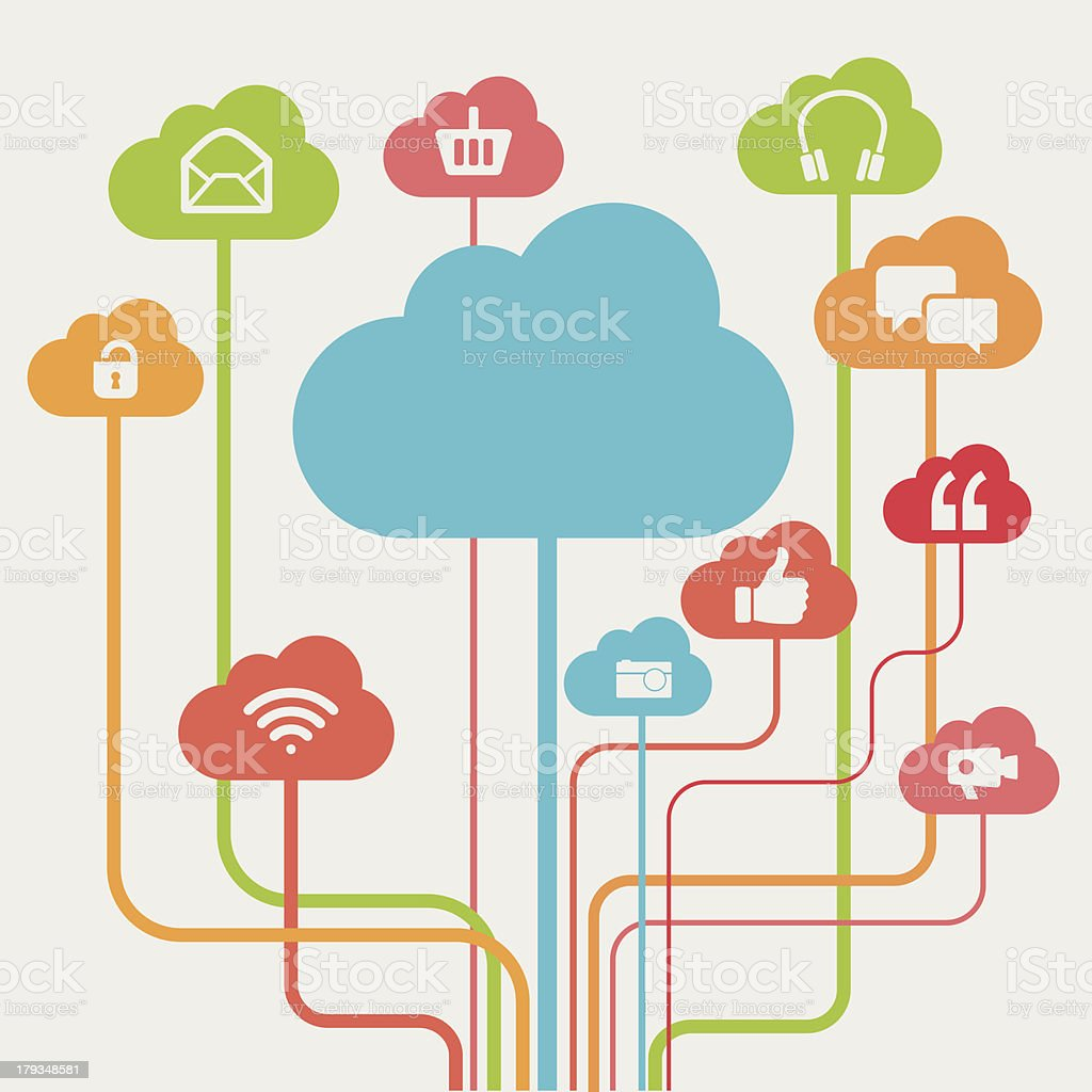 Multicoloured Cloud Computing Concept Graphic royalty-free stock vector art