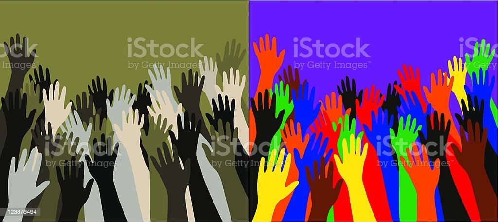 Multicultural crowd of hands reachng towards the sky royalty-free stock vector art