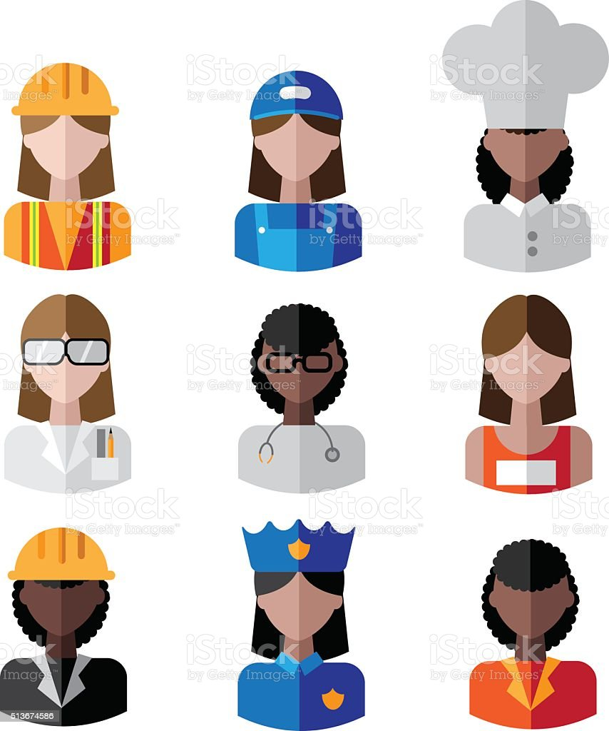 Multicultural female professions icon set. vector art illustration
