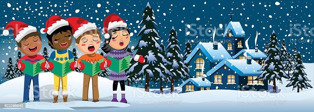Multicultural kids xmas hat singing Christmas carol banner vector art illustration