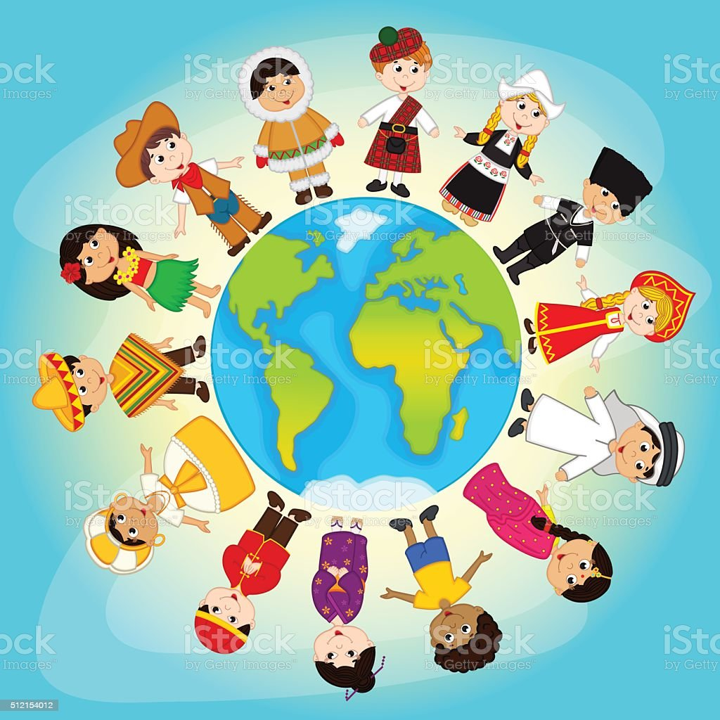 multicultural people on planet Earth vector art illustration