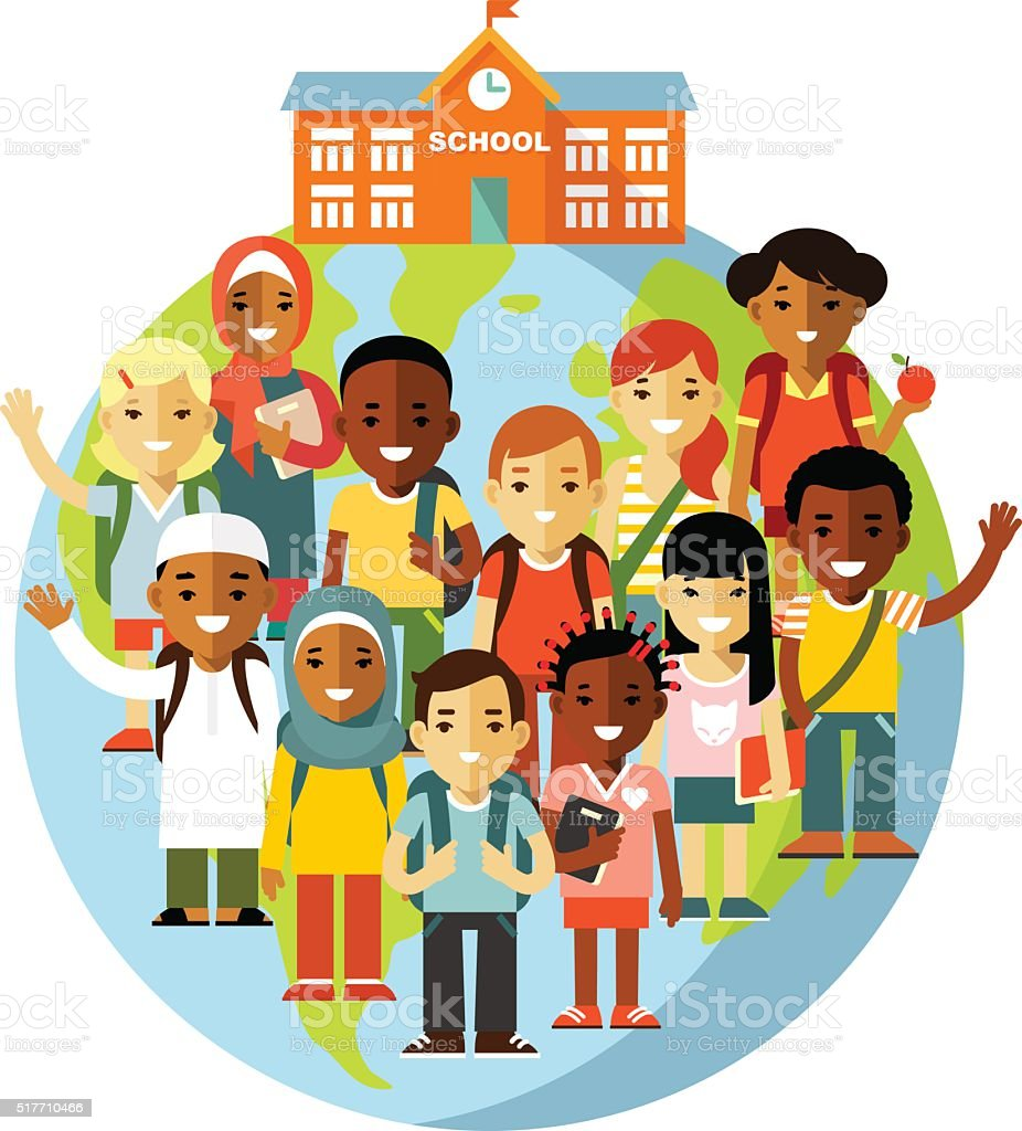 Multicultural school kids concept vector art illustration