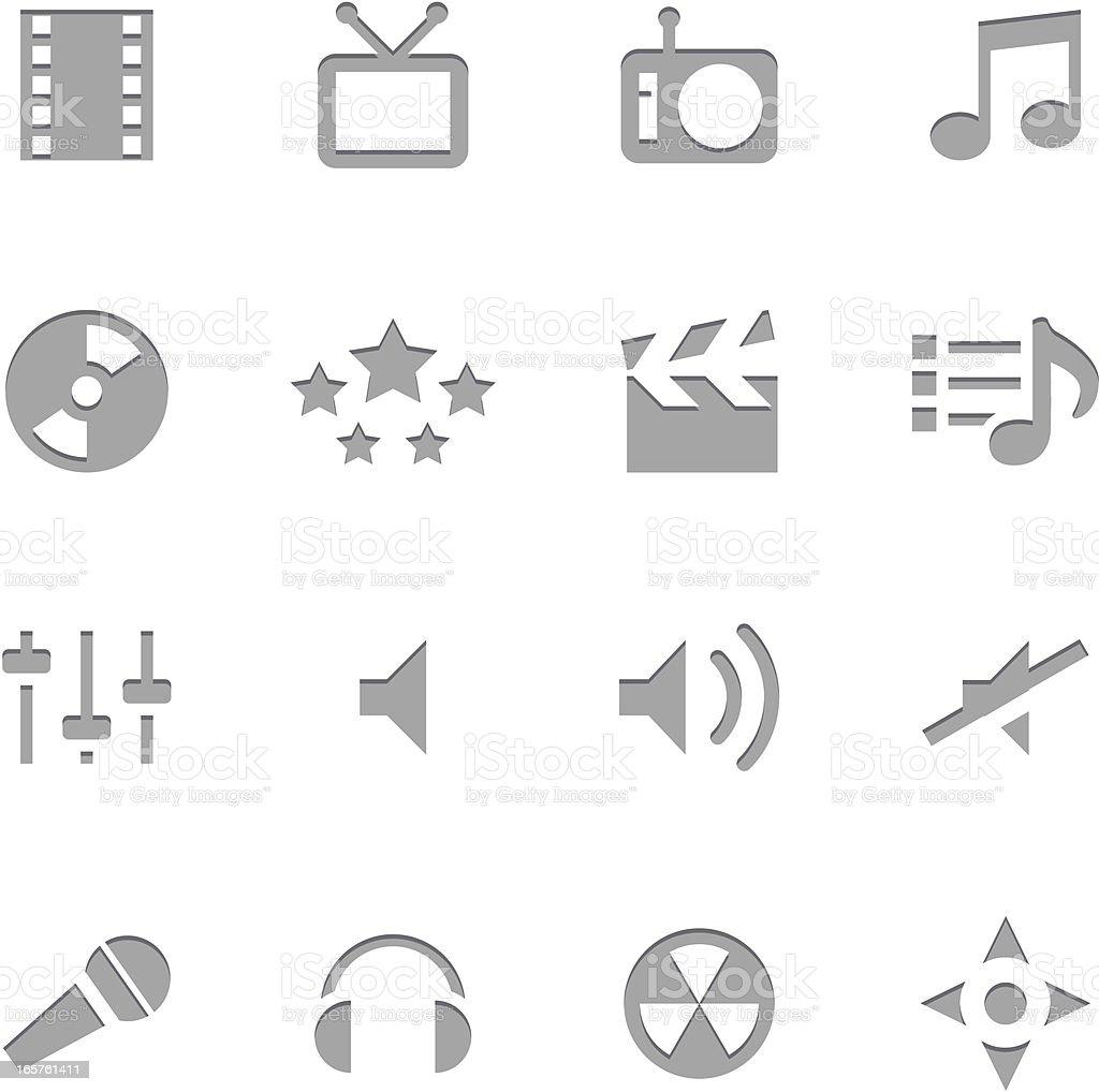 Multiedia Icons | Letterpress Series royalty-free stock vector art