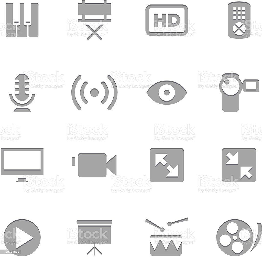 Multiedia Icons | Letterpress Series vector art illustration