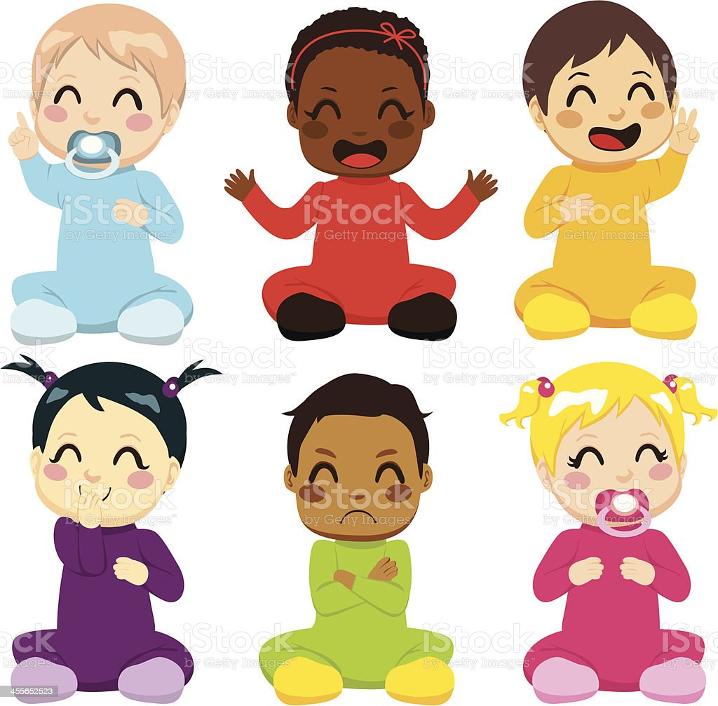 Multi-ethnic Baby Kids vector art illustration