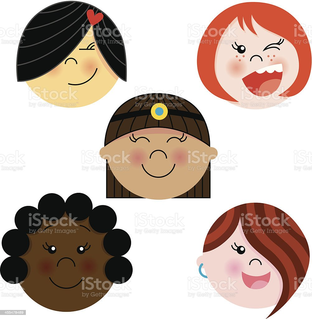 Multiethnic girls colors royalty-free stock vector art