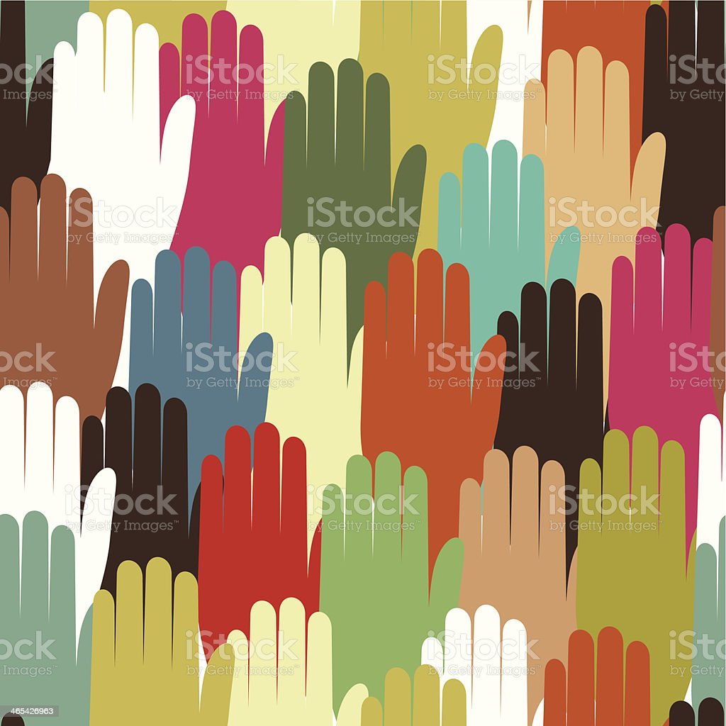 Multiethnic hands seamless pattern background royalty-free stock vector art