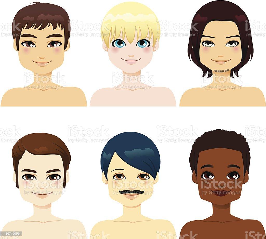 Multi-ethnic Handsome Men royalty-free stock vector art