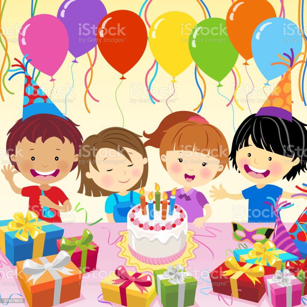 Multi-Ethnic Kids Celebrate Birthday Party vector art illustration