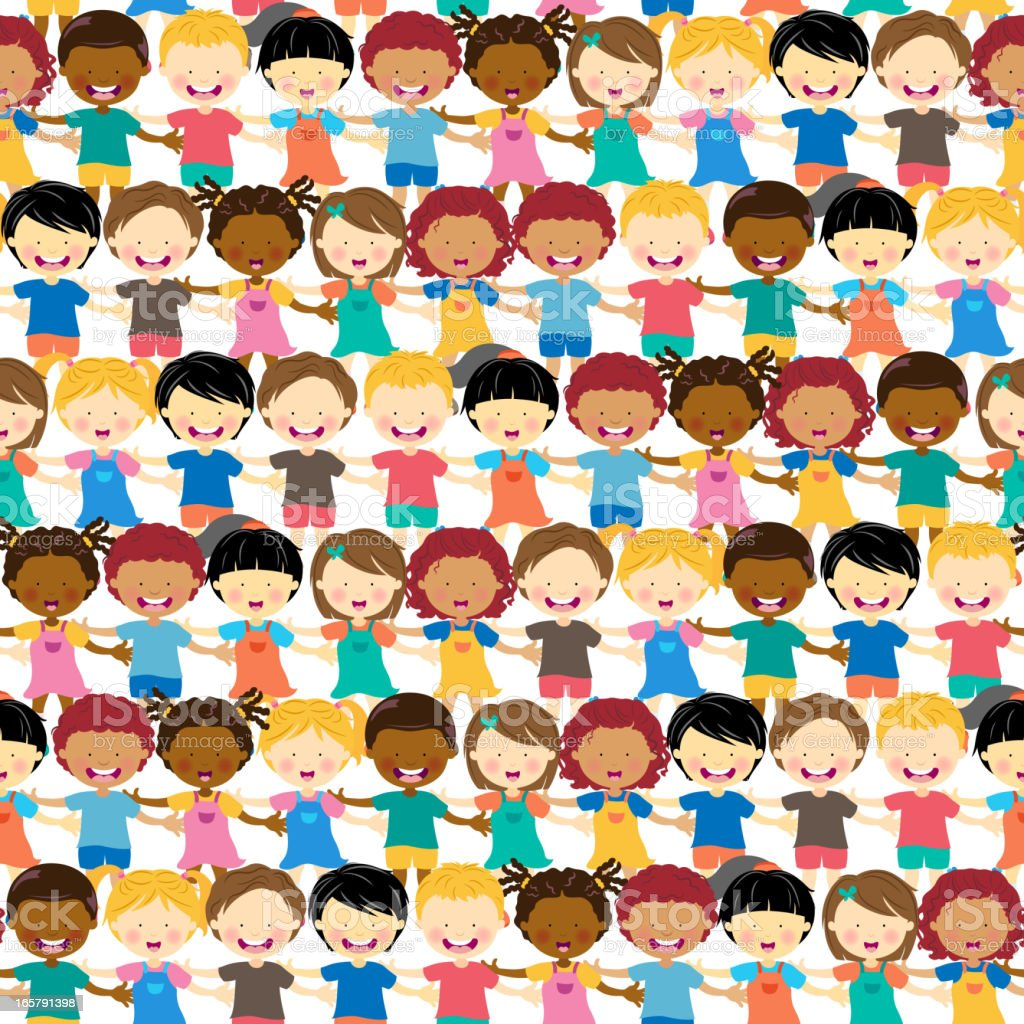 Multi-Ethnic Kids Crowd Seamless Background vector art illustration