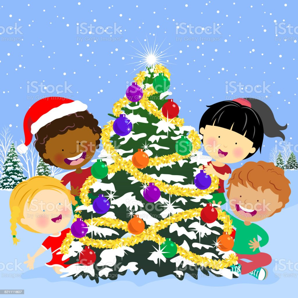 Multi-Ethnic Kids Hiding Behind the Christmas Tree vector art illustration