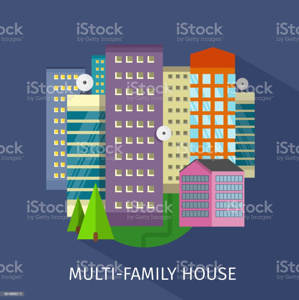 Multi-Family House Design Flat vector art illustration