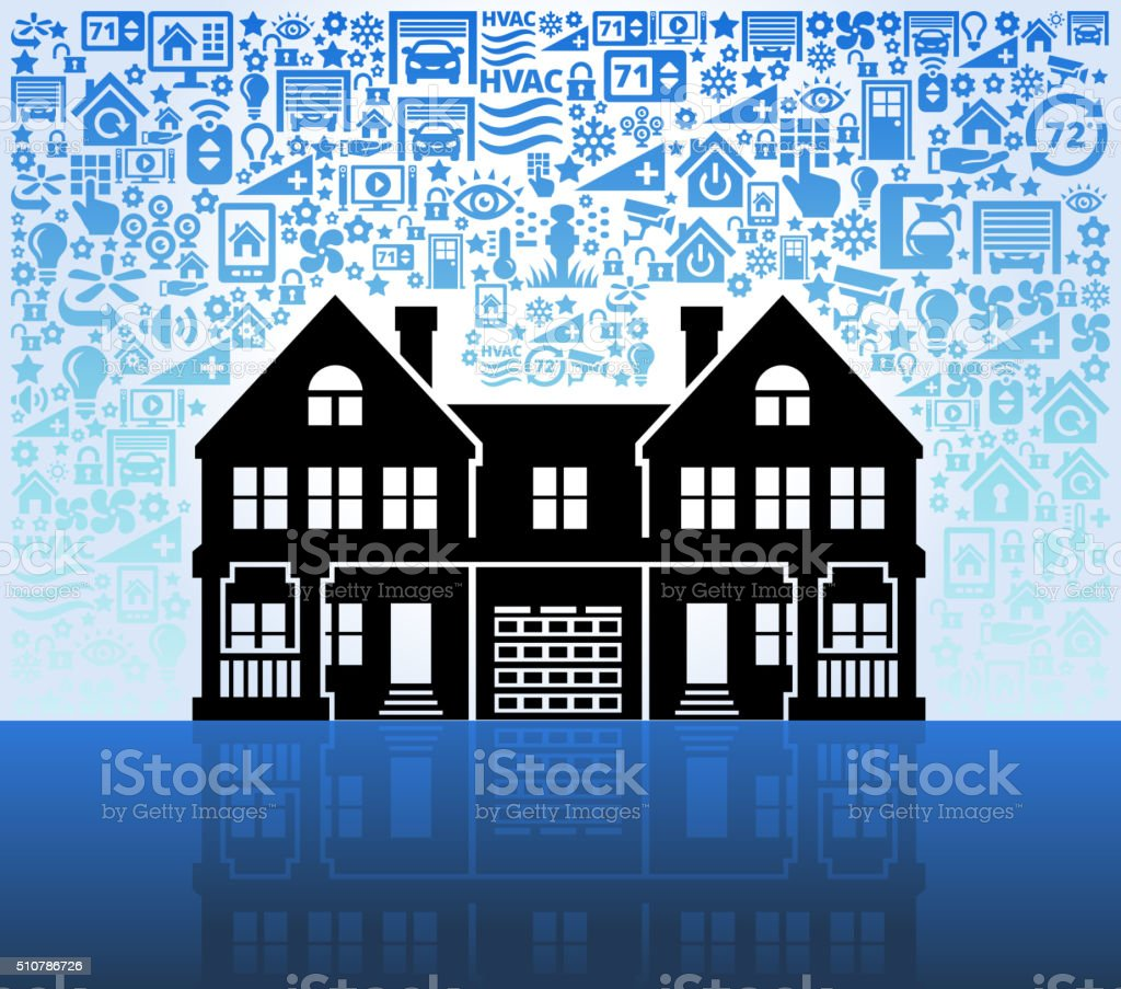 Multi-Family House on Home Automation and Security Vector Background vector art illustration