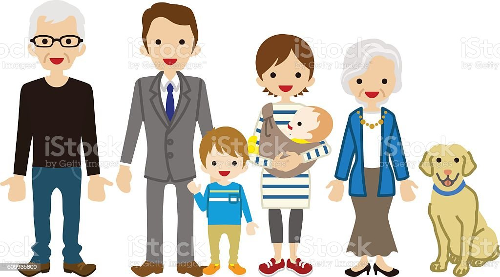 Multi-Generation Family vector art illustration